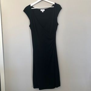 Loft Short Sleeve Midi Dress | Black | Size 8